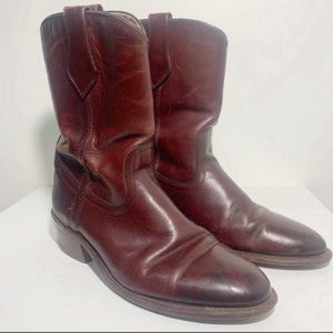 Frye Oxblood Leather Cowboy Boots Size 9